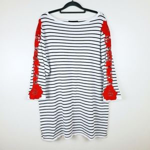 Lane Bryant | Striped, Lace, 3/4 Sleeved Top